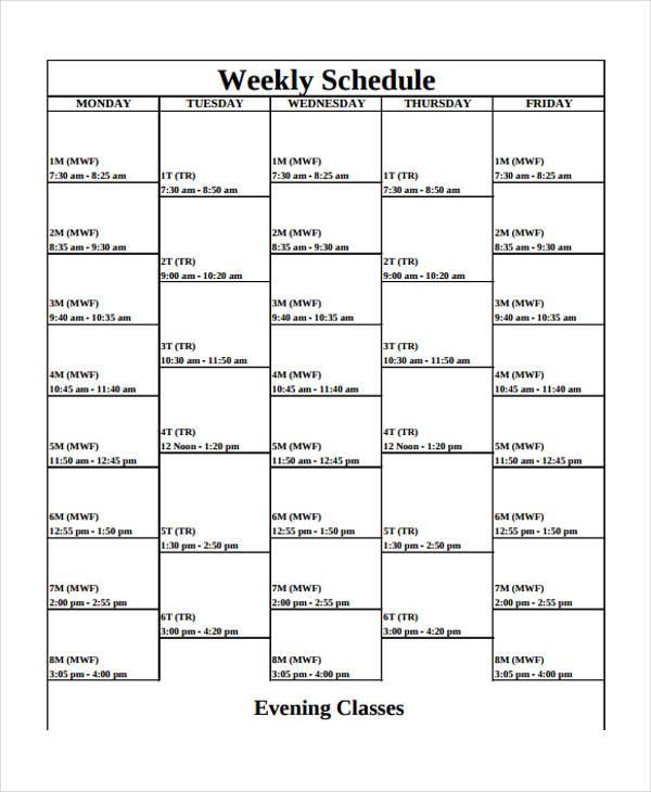 9+ Weekly School Schedule Templates - Sample, Example Free