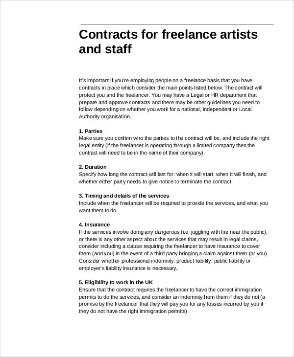 Freelance Contract Templates - 7+ Free Word, PDF Format Download - liability contract template