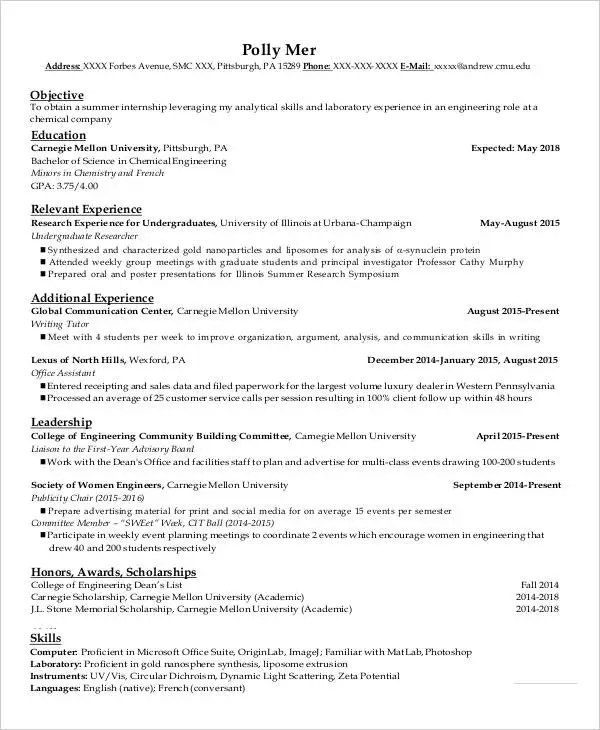 Undergraduate Resume Template Resumes Examples For College - scholarships on resume
