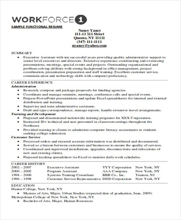 10+ Functional Curriculum Vitae Templates - PDF, DOC Free