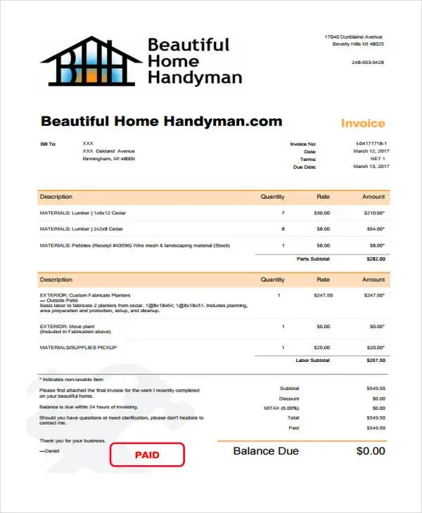 6 Handyman Invoice Template - Free Sample, Example Format Download - Handyman Invoice Template