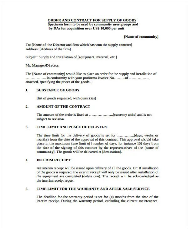 8+ Supply Contract Templates - Free Word, PDF Format Download Free - supply contract templates