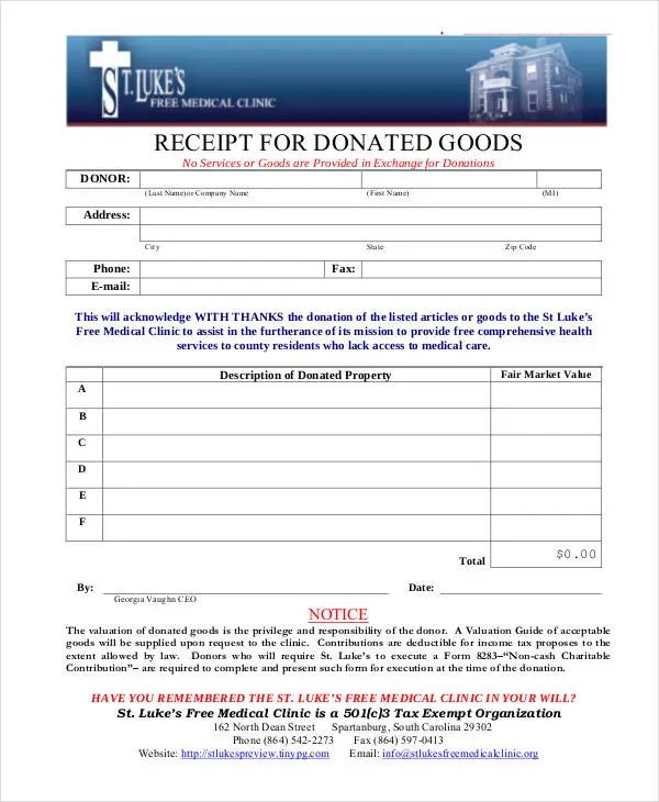 donation reciept