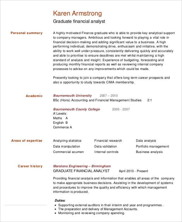 resume for finance analyst