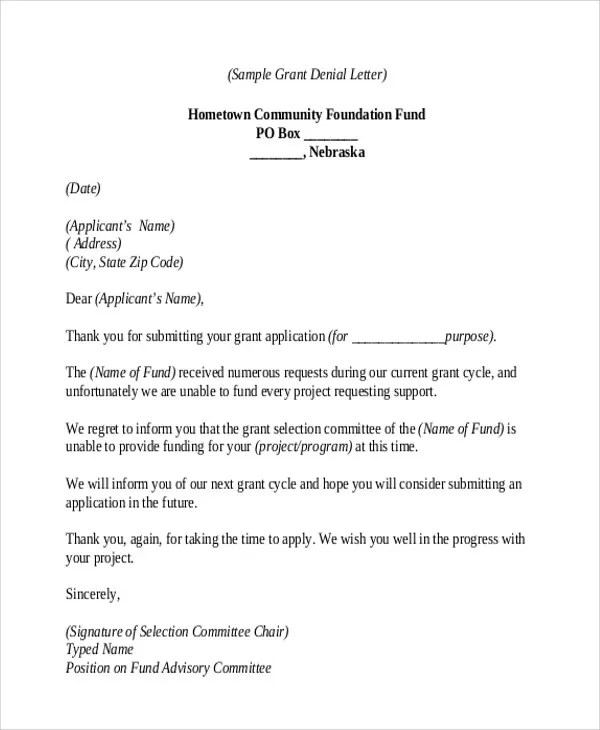 Rejection Thank-You Letter - 9+ Free Word, PDF format Download - non profit thank you letter sample