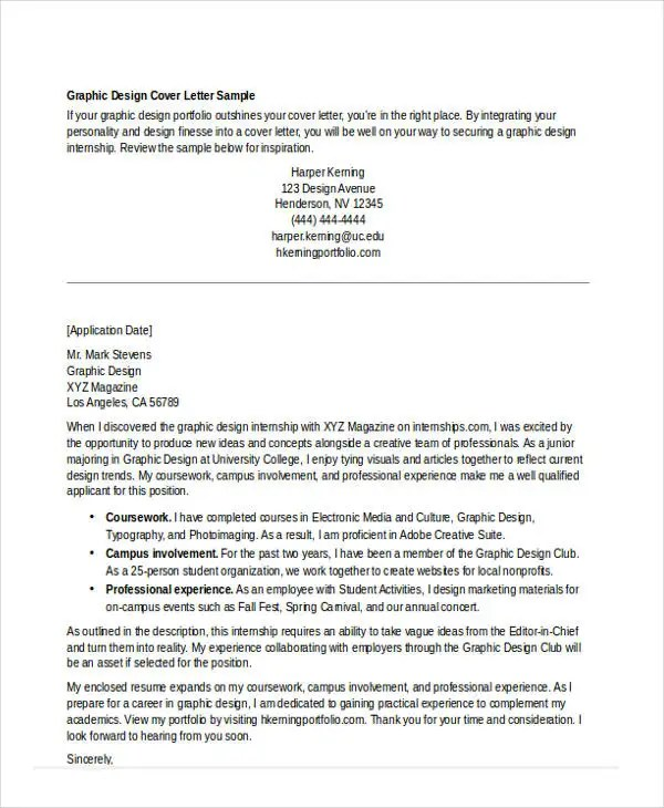 Internship Cover Letter - 10+ Free Word, PDF Format Download Free - Cover Letters For Internships