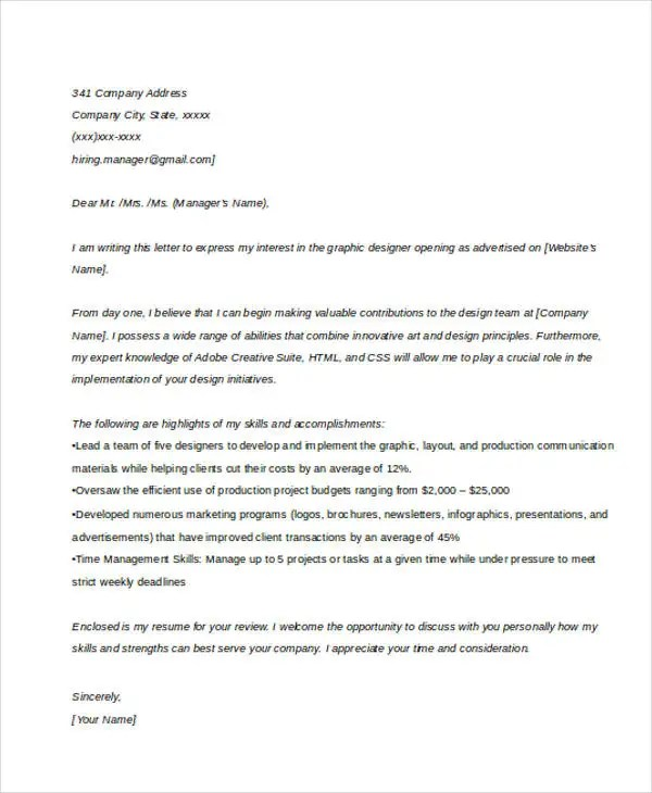 Business Cover Letter -10+ Free Word, PDF Format Download Free - Cover Letter To A Company