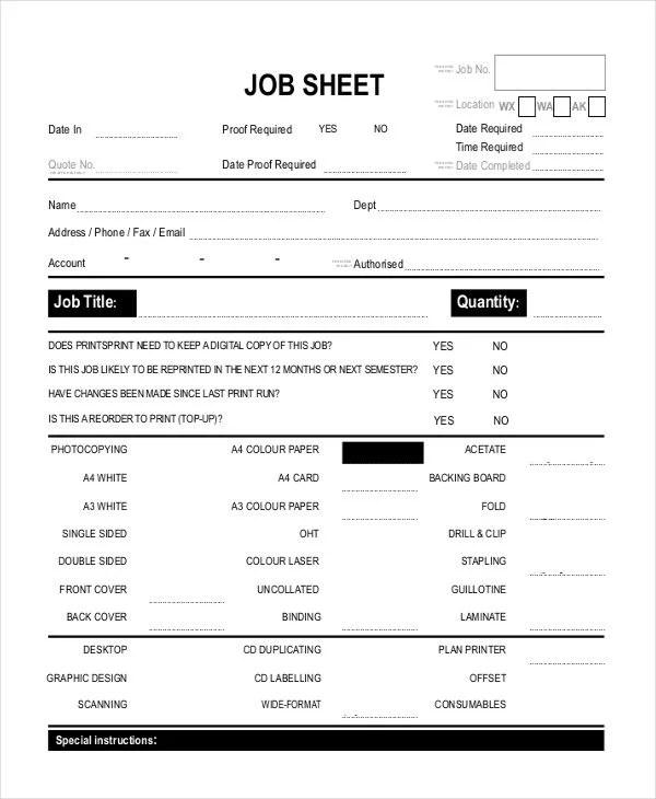 Job Sheet Templates - Free Sample, Example Format Downlaod Free - job sheet templates