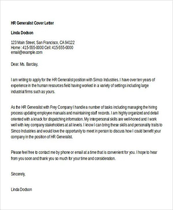 human resources generalist cover letter - Dolapmagnetband - cover letter human resources