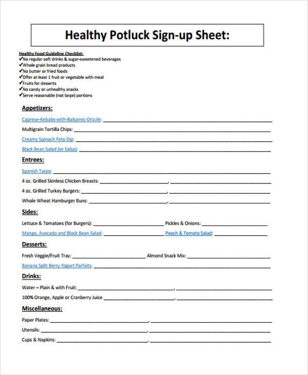 7+ Potluck Signup Sheet Templates - Free Sample, Example Format