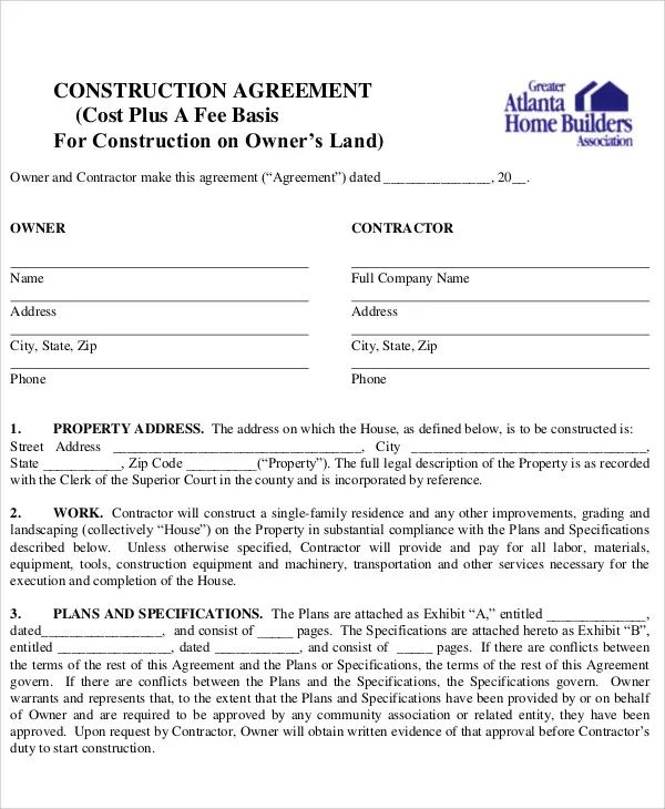 commercial construction contract template