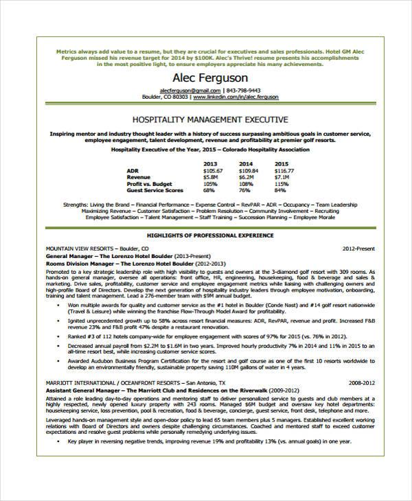 9+ Hospitality Curriculum Vitae - Word, PDF Free  Premium Templates