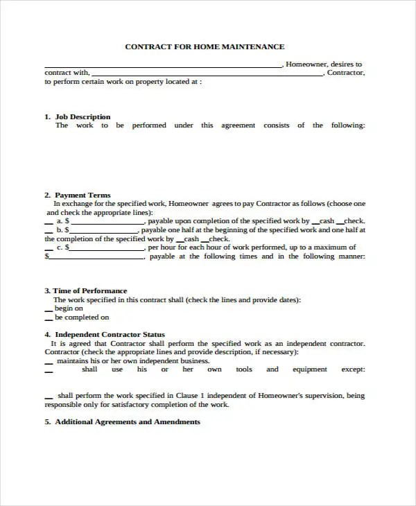 maintenance contract examples