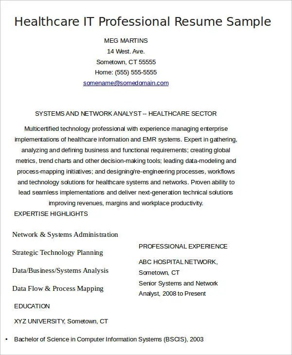 8+ Health Care Curriculum Vitae - Free Word, PDF Format Download - it professional resume examples