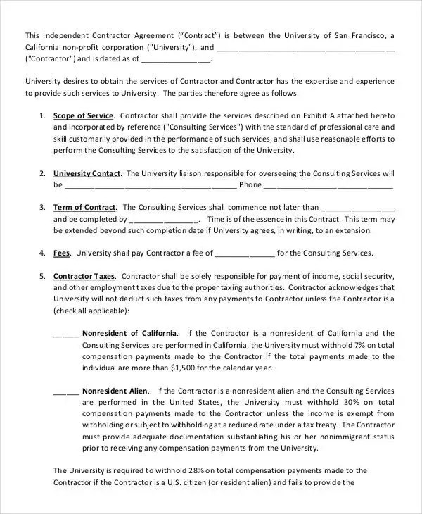 Independent Consulting Agreement hr contract template employee - independent contractor agreement form