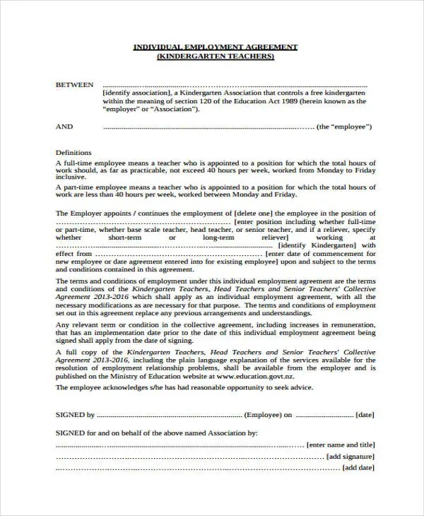 Employment Agreement Templates - 8+ Free PDF Format Download Free