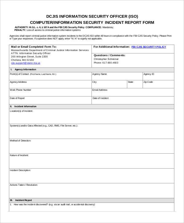 29 Incident Report Format Free  Premium Templates
