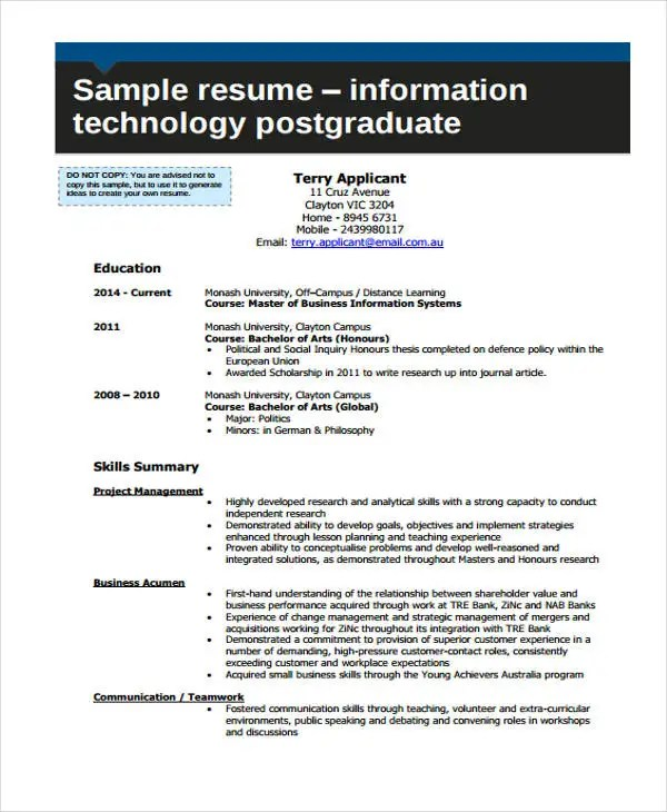 10+ Information Technology Resume Templates - PDF, DOC Free