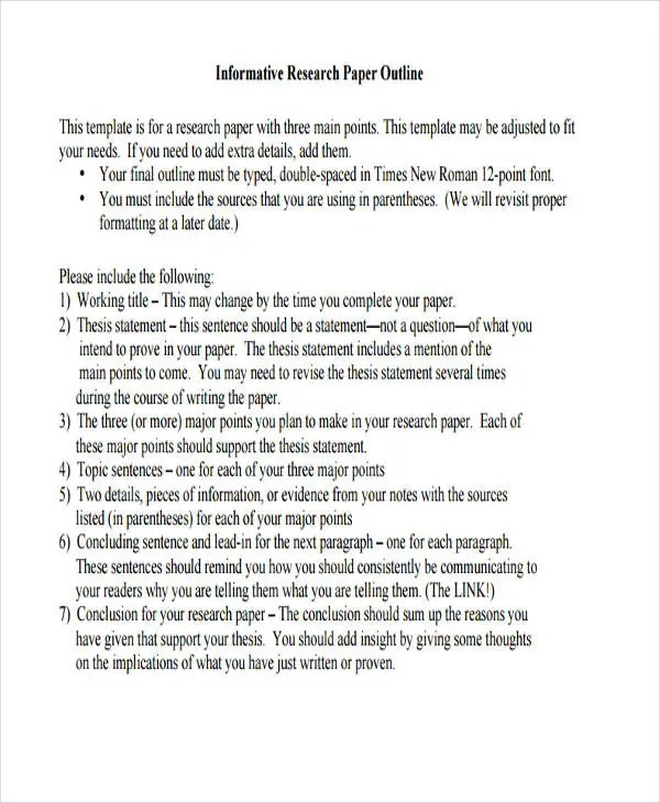 10 Paper Outline Templates - Free Sample,Example Format Download - research paper outline