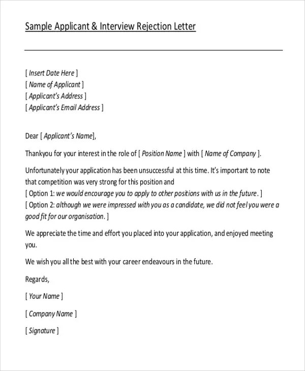 thank you letter after interview rejection - Onwebioinnovate