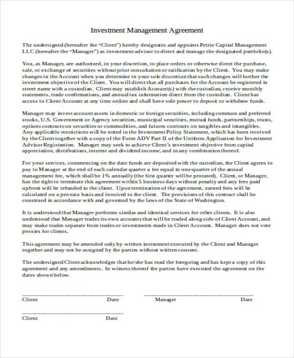 36+ Agreement Templates in Word Free \ Premium Templates - investment management agreement