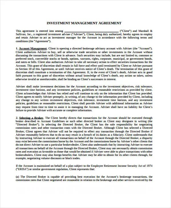 Management Agreement Templates -11 Free Word, PDF Format Download - investment management agreement