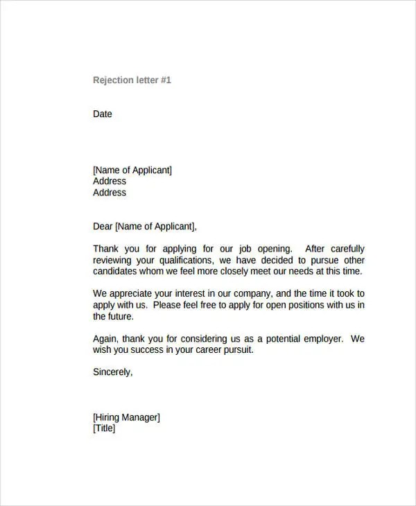 12+ Polite Rejection Letter - Free Sample, Example format Download