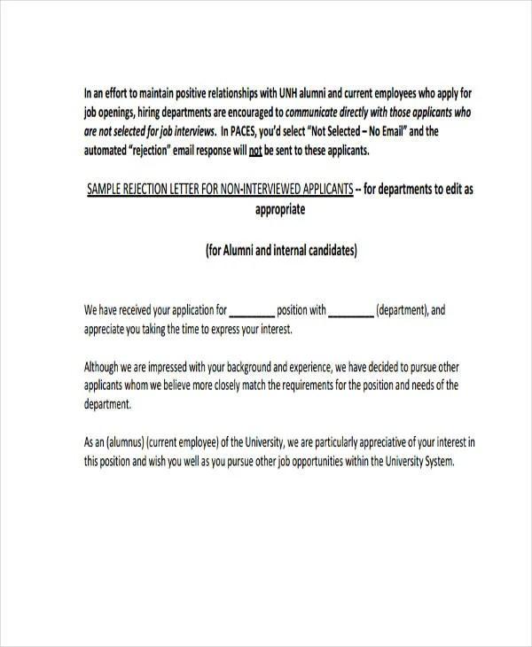 job rejection letter response sample - Thevillas