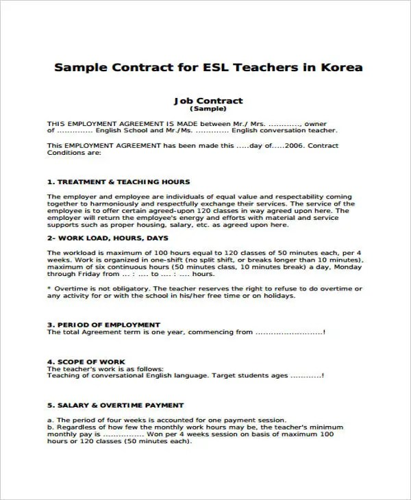 10+ Teacher Contract Templates - Word, Google Docs, Apple Pages