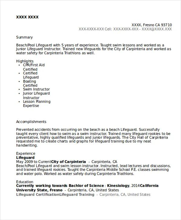 sample lifeguard resume template