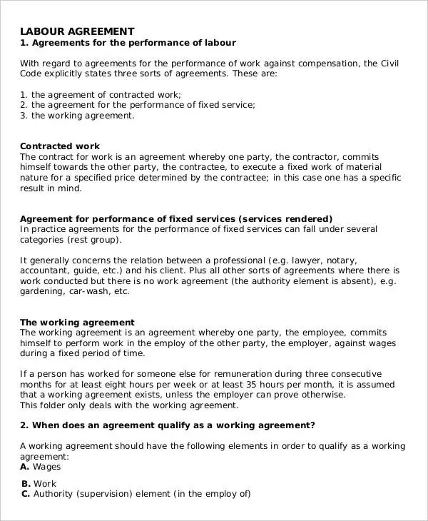 Labour Contract Templates - 5+ Free Word, PDF Format Download Free - labour contract template