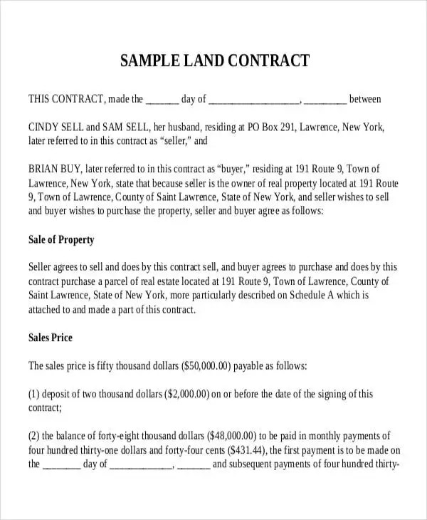 7+ Land Contract Templates - Free Sample,Example Format Download - yearly contract template