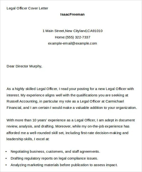 Best Legal Secretary Cover Letter Examples Livecareer 7 Legal Cover Letters Free Sample Example Format