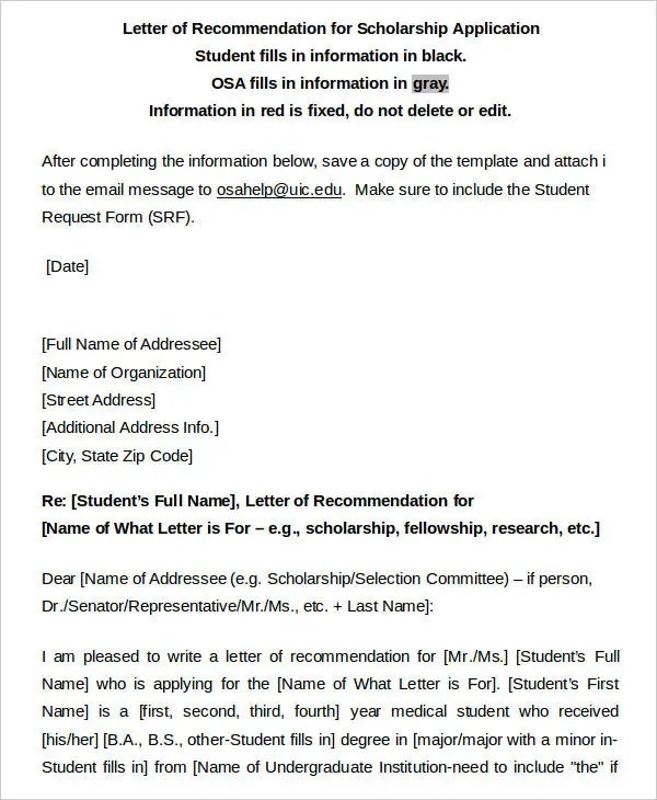33+ Recommendation Letter Format Templates Free \ Premium Templates - scholarship recommendation letter