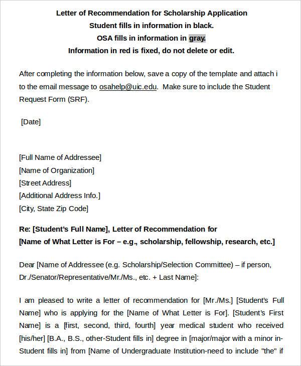 letter of recommendation for scholorship