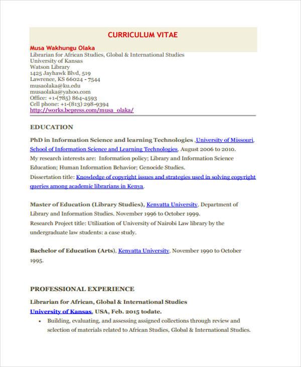 11+ Academic Curriculum Vitae Templates - PDF, DOC Free  Premium