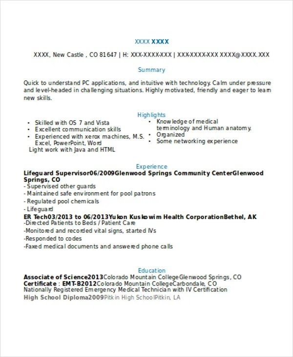 8+ Lifeguard Resume - Free Sample, Example Format Download Free - lifeguard resume example