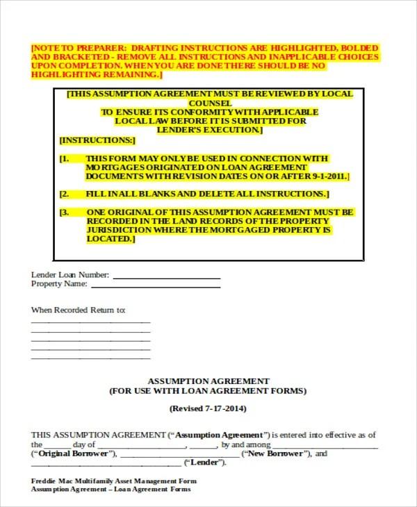 Assumption Agreement Templates - 9 Free Word, PDF Format Download