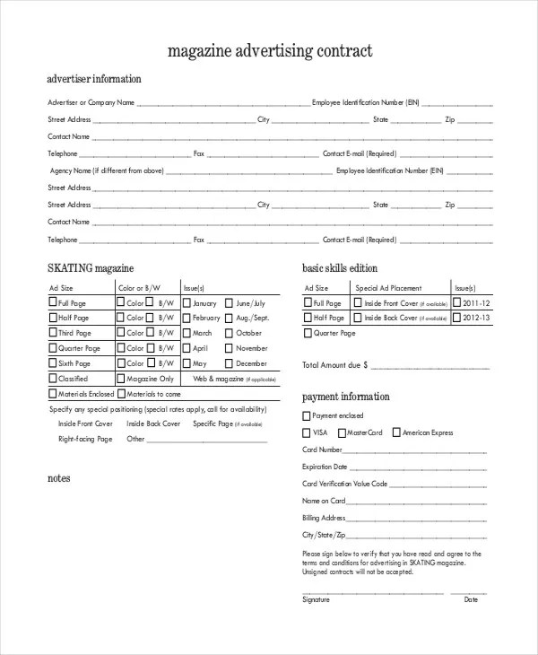 Advertising Contract Template - 10+ Word, PDF, Google Docs, Apple
