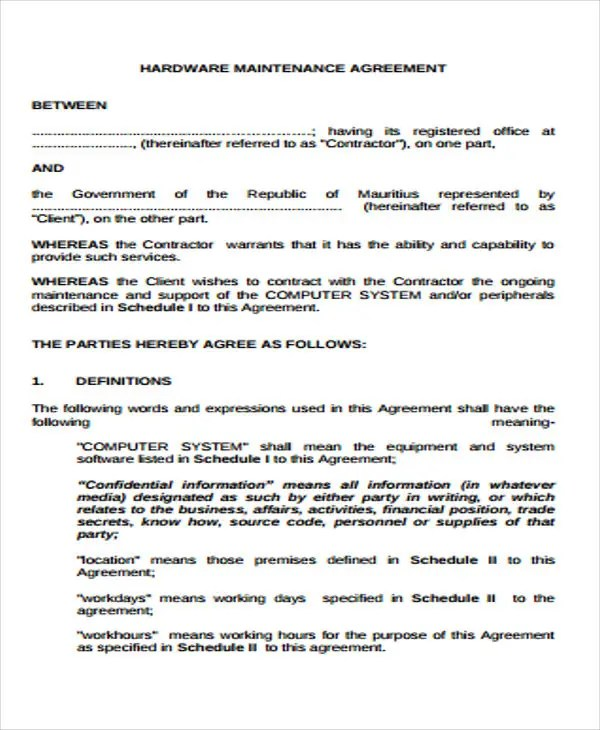 Maintenance Agreement Templates - 9+ Free Sample, Example Format - maintenance agreement