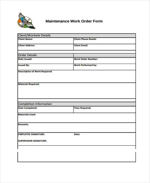 Work Order Templates - 9+ Free PDF, Format Download Free  Premium - maintenance work order form