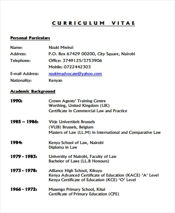9+ Legal Curriculum Vitae Templates - Word, PDF Free  Premium - curriculum vitea sample