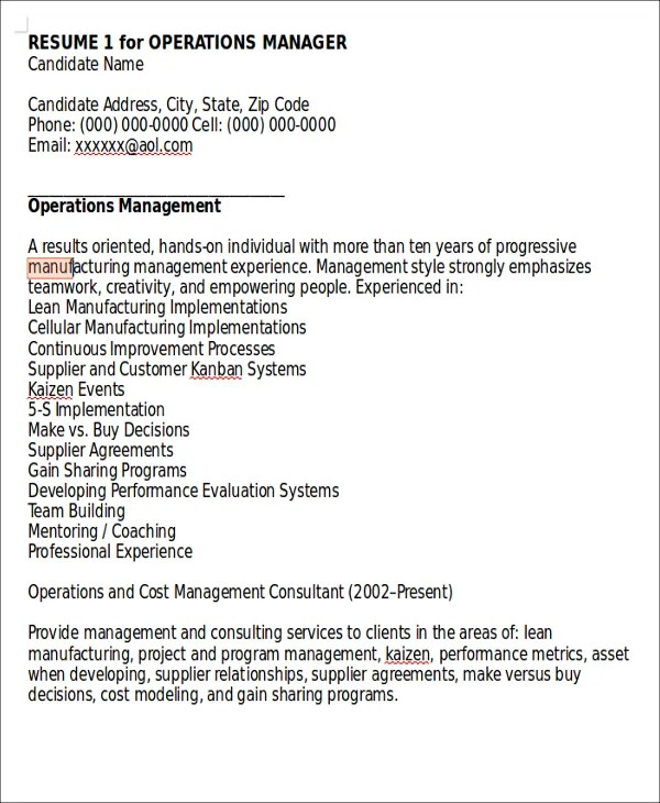 10+ Director of Operations Resume Templates - PDF, DOC Free - operations director cv