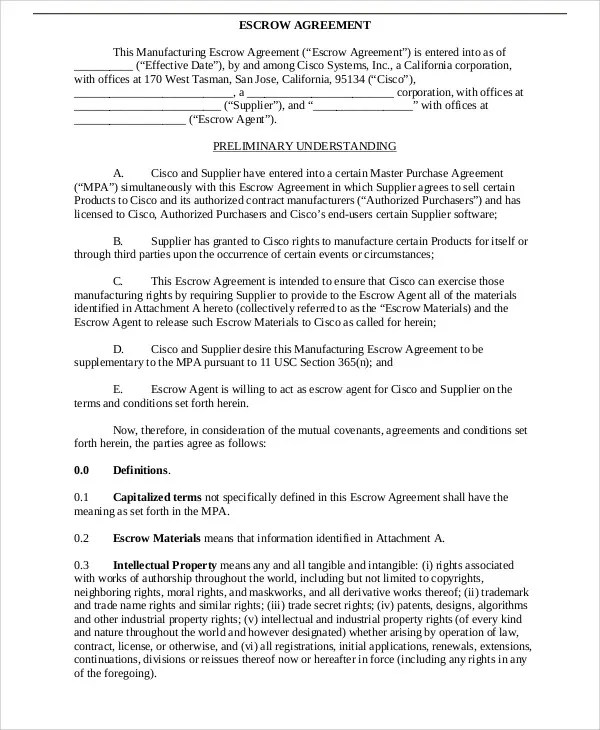 Escrow Agreement Template G179575Ex10_74Pg001 Jpg Sample Business - sample purchase and sale agreement template