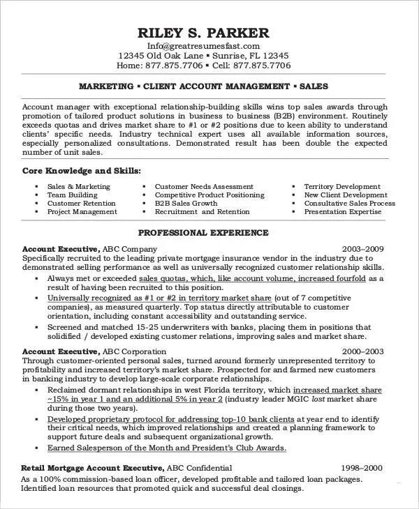 18+ Executive Resume Templates - PDF, DOC Free  Premium Templates