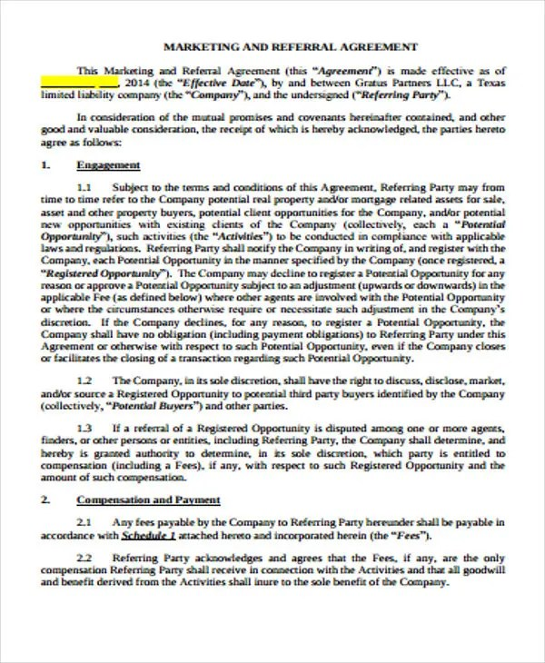 Referral Fee Agreement Template Business Agreements