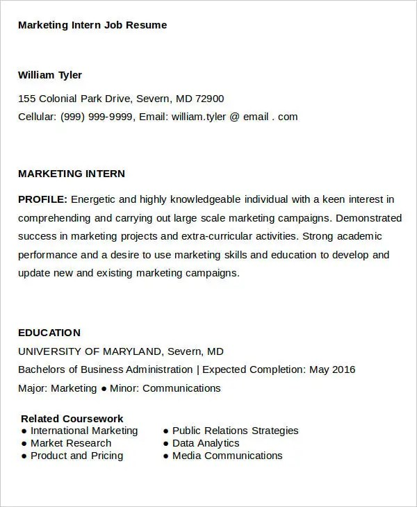 28+ Marketing Resume Templates - PDF, DOC Free  Premium Templates - marketing intern resume