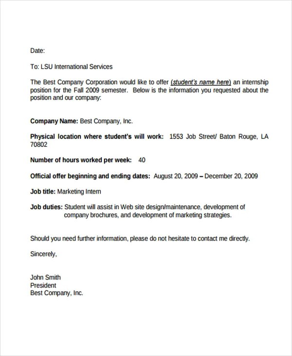 8+ Internship Offer Letters - Free Samples, Examples Format Download