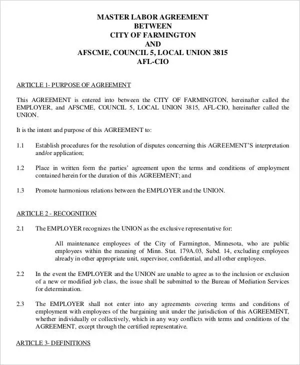 Labor Contract Templates Labour Contract Employer Legal - agreement for labour contract