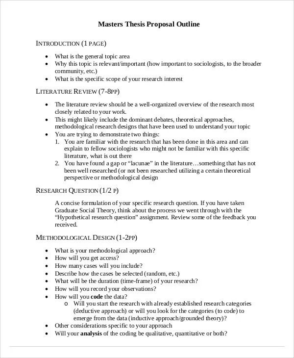 8 Thesis Outline Templates - Free Sample ,Example, Format Download